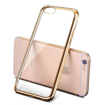 Luxury Silicone Case For iPhone 6 S 6S / 6 Plus 6S Plus Transparent Glitter Cover Gold Coque Fundas Capinha i Phone 5.5 inch
