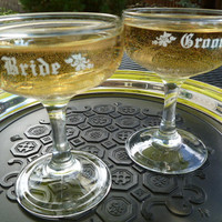 Bride and Groom Champagne Coupe/Saucer Glasses, Circa 1970's Vintage Set of Two
