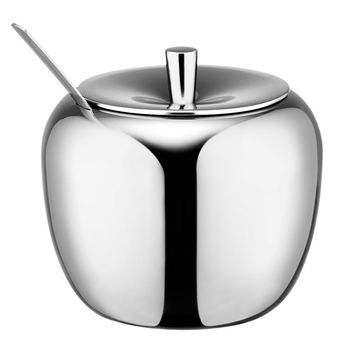Realand 18/8 Stainless Steel Apple Sugar Bowl Seasoning Jar Condiment Pot Spice Container Canister Cruet with Lid and Spoon