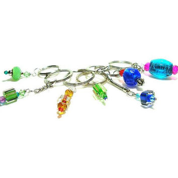 Swarovski Peridot Crystal  And Cane Glass Beaded Key Chain