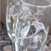 Lovebirds on a Leafy Branch- Engraved Wedding Glass Toasting Flutes | laserbird - Wedding on ArtFire