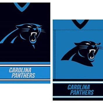 DCCK8X2 NFL Licensed Carolina Panthers Outdoor Decorative Suede 12.5' x 18' Dual Sided Team Je