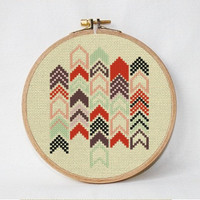 Geometric chevron, Modern cross stitch pattern, counted cross stitch PDF  instant download