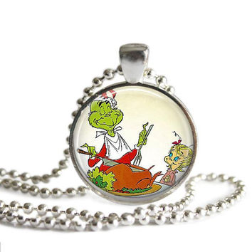 The Grinch Who Stole Christmas Necklace The Grinch and Cindy Lou Who Silver Plated Pendant
