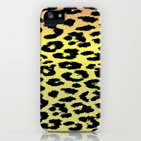 Leopard iPhone Case - original print pattern animal print design gradient background red orange yellow green cell phone iPod accessory