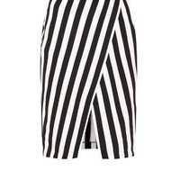Monochrome Stripe Wrap Skirt