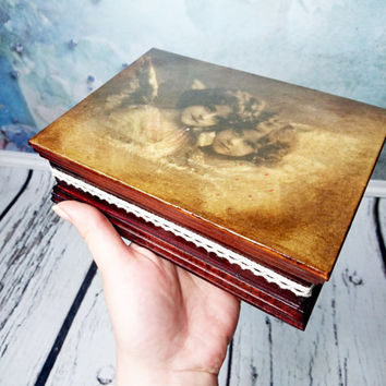 Trinket box, retro decoupage, angels, old photo, gift for her, jewelry box, vintage decor, small box, keepsake gift