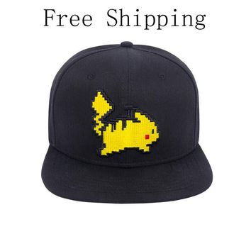 New Cartoon Pikachu Cosplay Cap Ladies Dress Black New Anime Pocket Monster Pokemon charms Costume Props Hat Baseball Cap