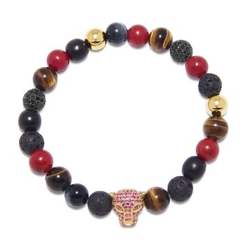 Men's Wristband with Red Jade, Lava Stone, Agate, Brown Tiger Eye, Ebony and Panther Bead