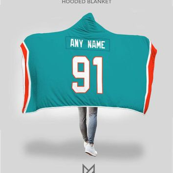 Miami Dolphins Hooded Blanket - Personalized Any Name & Any Number