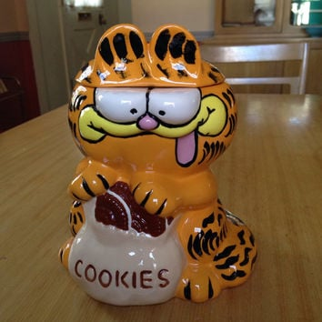 Vinttage Garfield Cookie Jar, 1980s Kitchen, Kitchen Storage, 80s Home Decor, Cat Lover, Cat Collectible