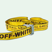 Off White C/O Virgil Abloh Belts Men Women Yellow Logo Letters Embroidery Cut Me Off High Street Hip Hop Skateboard Kanye Belts