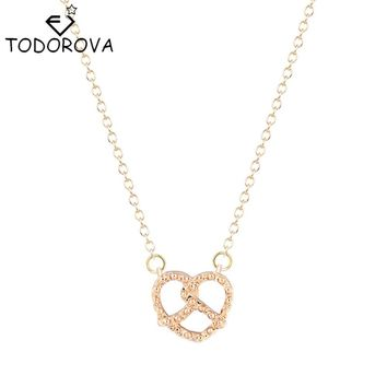 Todorova Chic Simple Pretzel Necklaces & Pendants Vintage Silver Gold Love Heart Necklaces Christmas Gifts for Women Girlfriend