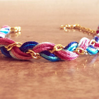 Braided Summer Bracelet (Gold, Pinks and Blues!)