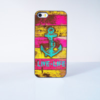 Anchor Live Life  Plastic Case Cover for Apple iPhone 5s 5 4 4s 5c 6 6s Plus