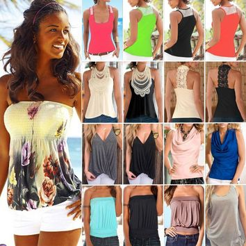 Womens Boho Tank Top Vest Sleeveless Loose Summer Beach Casual T-Shirt Blouse
