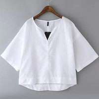White V-Neckline Drop Shoulder Crop Top