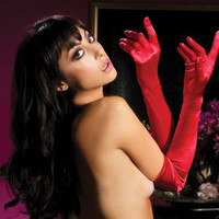 Satin Opera Gloves - Red