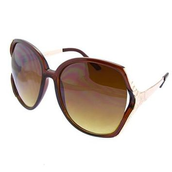 Oversized Round Lens Butterfly Sunglasses Brown Frame
