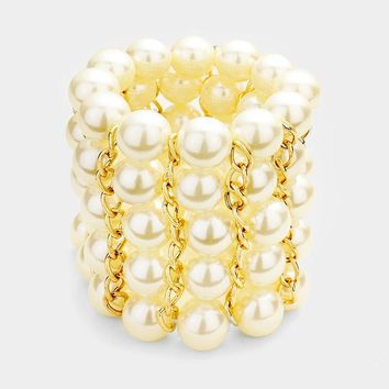 "2.50"" wide faux pearl arm candy stretch bracelet bangle cuff"