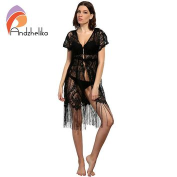 New Swimsuit Cover Up Summer Sexy Women Beachwear Cover Up Crochet Lace Tassel Bikini Bathing Suit