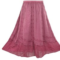 Bohemian Skirt Pink Embroidered Hippie Style Stonewashed Rayon Skirt for Womans