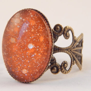 Moon Dust Mood Ring - Acid Orange to Soft Yellow (Medium) - Mood Ring - Mood Rings - Mood Jewelry - Filigree Rings - Orange - Yellow