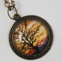 Photo pendant necklace tree silhouette glass antique brass new zealand