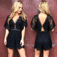 Enticing Black Lace Romper