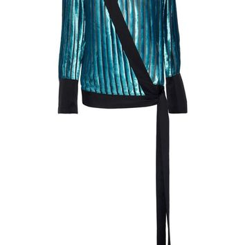 Satin-trimmed devoré-velvet and chiffon wrap blouse | DIANE VON FURSTENBERG | Sale up to 70% off | THE OUTNET