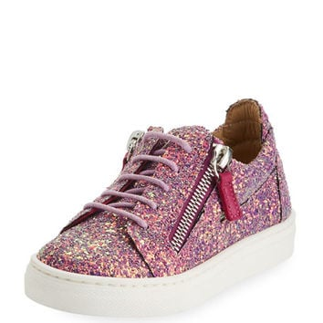 Giuseppe Zanotti Mattaglitt Glitter Low-Top Sneaker, Infant