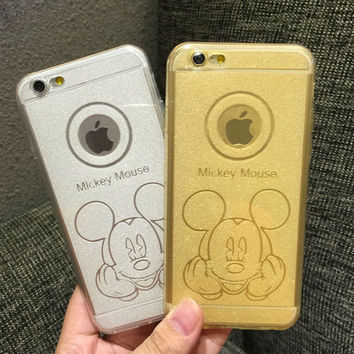 Phone cases mickey mouse Soft shell sequins luxury transparent plastic shell for apple iphone6s 6plus cover case