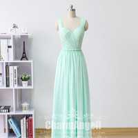 Mint v-neck Long Prom Dresses see- through , Mint Chiffon Formal Dresses, Long Chiffon Prom Gown