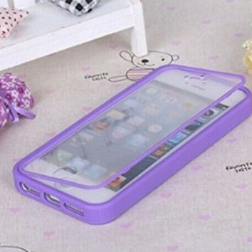Nancy's Shop Apple Iphone 5 5s Case Cover Flip Up-down Open TPU Gel Shockproof Hybrid Case for Apple Iphone 5 and 5s. Back and Front Protection (Purple)