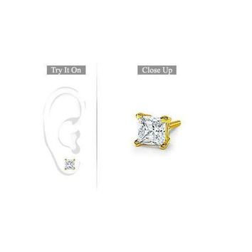 LMFMS9 Mens 14K Yellow Gold : Princess Cut Diamond Stud Earring - 1.00 CT. TW.