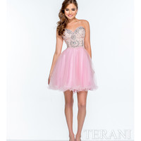 Terani 151P0006 Pink Strapless Sweetheart Sequined Party Dress 2015 Prom Dresses