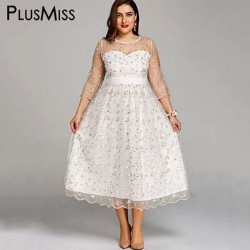 PlusMiss Plus Size 5XL Embroidered Lace Chiffon Tulle Dress Big Size White Sheer Elegant Evening Party Dresses Robe Femme 2018
