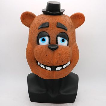 At  Cosplay Mask Foxy Chica Freddy Bear Animal Mask Gift For Adults Halloween Costume Party Props Funny