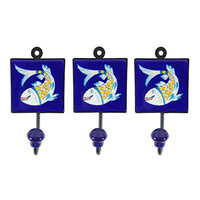 Pottery & Iron - Dancing Asian Fish Square Wall Hooks - Set of 3 - Iron Hangers  (Blue)