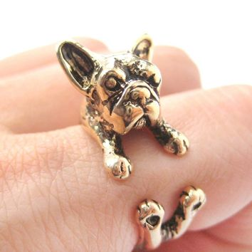 French Bulldog Puppy Dog Animal Wrap Around Ring in Shiny Gold | Sizes 4 to 9