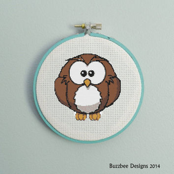 fluffy owl- cute chibi owl puff - pdf cross stitch pattern - kawaii - bird - big eyes - hooter - cartoon - INSTANT DOWNLOAD