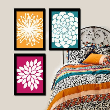 Orange Teal Pink Flower Burst Daisies Petals Artwork Set of 3 Trio Prints Wall Decor Abstract Art Picture Bedroom Bathroom