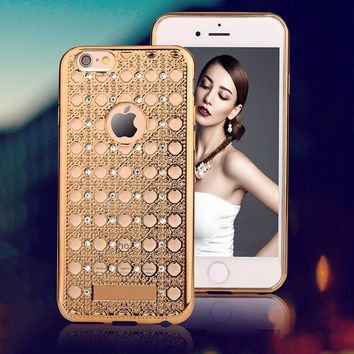 Luxury Agate Case For iPhone 6 6S Plus Fashion Bling Diamond Crystal Soft TPU GEL Back Cover Elegant Silm Shockproof Phone Cases