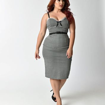 Micheline Pitt For Unique Vintage Plus Size Black & White Gingham Lilli Wiggle Dress