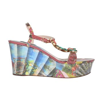 Dolce & Gabbana Multicolor Sicily Print Crystal Wedges Leather Shoes