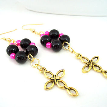 Gold Cross Earrings - Christian Jewelry - Religious Earrings - Hot Pink, Black, and Gold