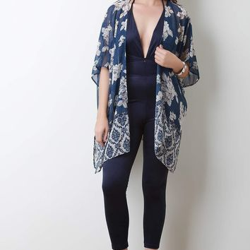Semi-Sheer Floral Side Vent Lightweight Kimono