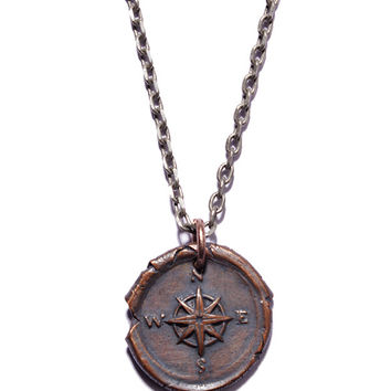 Copper Wax Seal Compass Necklace