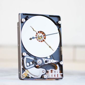 Desk clock from a recycled Computer hard drive - HDD clock - ready to ship - c0126