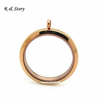 30mm Screw Twist Round Floating Lockets ,Rose Gold Waterproof Living locket, Glass locket Pendant, Memory Lockets LFL_022